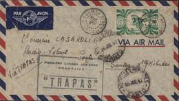 Première Liaison Aérienne Française Trapas Par Avion YT 254 France Libre CAD Nouméa Nouvelle Calédonie 16 JUI 47 - Lettres & Documents