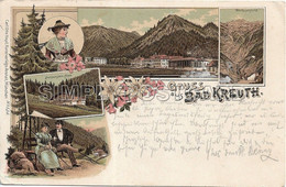 OLD  POSTCARD - LITHO - GERMANIA - GRUSS AUS BAD KREUTH - VIAGGIATA 1898 - T132 - Tegernsee