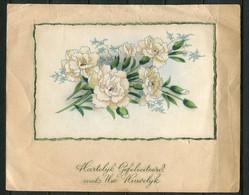 1943 Kaart Met Huwelijks Wensen  - Bloemen  - Carte Marriage Avec Fleurs - Wedding Card With Flowers  (18x14 Cms) - Marriages