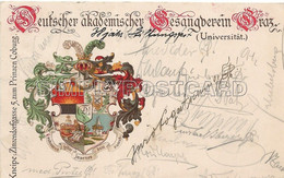 OLD  POSTCARD -  LITHO - DEUTSCHER AKADEMISCHER GESANGVEREIN  GRAZ  - STEMMA STUDENTESCO UNIVERSITA' 1901 - Graz