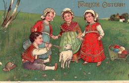 DC3810 - Motiv: Ostern - Fröhliche Ostern, Gold - Prägekarte, Kinder Und Lamm, Tracht - Pascua