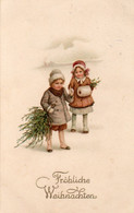 DC3812 - Motiv: Weihnachten - Fröhliche Weihnachten, Kunder, Mädchen Mit Tannenbaum, Winter - Natale