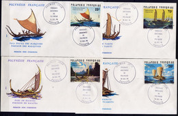 POLYNÉSIE  - FDC 111-114 - PIROGUES ANCIENNES - FDC
