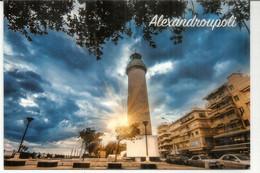 GRÈCE.Phare Alexandroupoli (Evros),carte Postale Vendue Au Pavillon Grèce Expo Universelle Milan 2015avec Cachets Au Dos - Fari