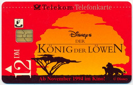 GERMANY - DEUTSCHLAND - ALLEMAGNE DISNEY LION KING - KONIG DER LOWEN 12 DM CHIP PHONECARD TELECARTE PERFECT - Disney