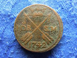 SWEDEN 1 ORE SM. 1742, KM416.1 Corroded - Suecia