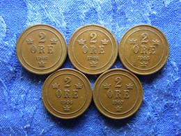 SWEDEN 2 ORE 1902, 1904, 1905 KM746, 1906, 1907 KM769 - Suecia