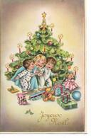L50C379 - Joyeux Noël - Dessin D'enfants Découvrant Leurs Cadeaux Au Pied Du Sapin, Poupée, Train, Nounours.. - Ph N°473 - Natale