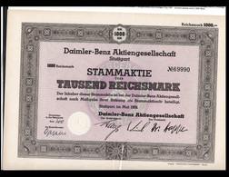 Third Reich 1939 Stammaktie In Daimler-Benz Aktiengeschellschaft Stuttgart - Reichsmark 1.000 (H59Hlarge) - Transport