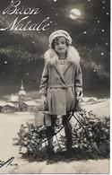 L50C381 - Joyeux Noël - Buon Natale - Fillette Au Clair De Lune Paysage Enneigé - Fotocelere  N°112 - Natale