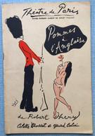 Programme Branquignols Pommes à L'anglaise 1958Théâtre De Paris - Programmes