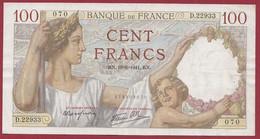 """100 Francs """"Sully"""" Du 19/06/1941.U.X------ALPH .D.22933---DANS L ETAT - 1871-1952 Circulated During XXth"""
