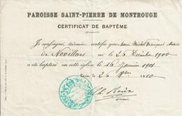 1910 - Certificat De Baptême - Geboorte & Doop