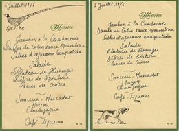 1975 - 2 Menus De Diner De Chasseur - Menú