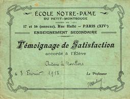 ECOLE NOTRE DAME  PARIS -  Diplôme De Témoignage De Satisfaction - Diploma's En Schoolrapporten