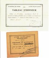 ECOLE NOTRE DAME  PARIS -  Diplôme De Témoignage De Satisfaction  Et Tableau D'Honneur - Diploma's En Schoolrapporten
