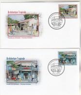 Polynésie FDC 2015 - Yvert  1090 Et 1091 Architecture Tropicale - Singapore 2015 - FDC