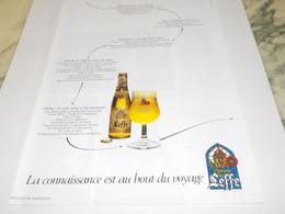 ANCIENNE  PUBLICITE BIERE ABBAYE DE LEFFE 1988 - Alcohols