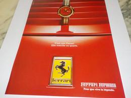 ANCIENNE  PUBLICITE UNE FERRARI ELLE MARCHE AU QUARTZ  1989 - Juwelen & Horloges