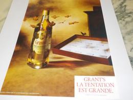 PUBLICITE  TENTATION EST GRANDE WHISKEY GRANT S 1989 - Alcohols