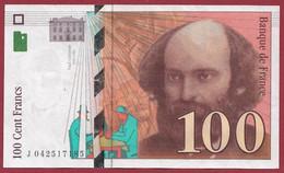 """100 Francs """"Cézanne"""" 1998-----ALPH.J ---Numéro.042517185--DANS L ETAT - 1992-2000 Ultima Gama"""