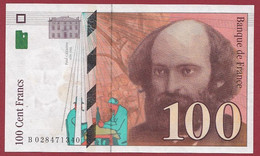 """100 Francs """"Cézanne"""" 1997-----ALPH.B ---Numéro.028471340--DANS L ETAT - 1992-2000 Ultima Gama"""