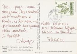 Polynésie - Yvert 268 Sur Carte Postale  Papetoai Moorea Iles Du  Vent 23/3/1988 à St Etienne Loire - Flore - Frans-Polynesië