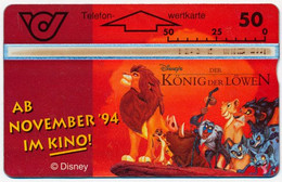 AUSTRIA L'AUTRICHE ÖSTERREICH 50 UNITS DISNEY LION KING - KONIG DER LOWEN LANDIS & GYR PHONECARD TELECARTE PERFECT - Disney