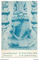 Old SIAM King RAMA VII Prajadhipok As Priest / Priesthood Days BANGKOK Postcard Cpa Thailande Thailand Roi TRES RARE - Tailandia