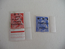Série De 2 Timbres Neuf ** LIBERATION De MAURIAC Mercure SURCHARGE FFI Franchise Postale En Bord De Feuille - Libération