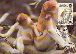 Brunei 1991 Maxicard Sc #427 60c Proboscis Monkey WWF - Brunei (1984-...)