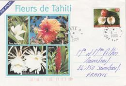 Polynésie Timbre Fruits Du Fenua Papeete 6/1/2000 Lettre Illustrée Recto Verso Pour Sauveboeuf Dordogne - Frans-Polynesië