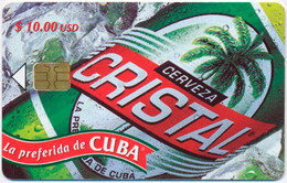CUBA - KUBA ETECSA 10 $ CRISTAL BEER BIÈRE BIER CHIP PHONECARD TELECARTE PERFECT - Cuba