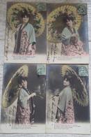 OMBRELLE  FEMME  FLEUR  DU  JAPON  SERIE DE  6 CARTES - Femmes