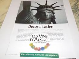 ANCIENNE PUBLICITE VIN D ALSACE DECOR ALSACIEN 1989 - Alcohols