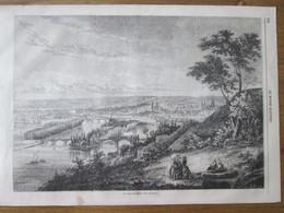 Gravure 1863 Vue Générale De La Ville De Rouen - Rouen