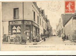 41 -  SAINT AIGNAN - Rue Rouget De L'Isle Animée - Mercerie Attelage   11 - Saint Aignan