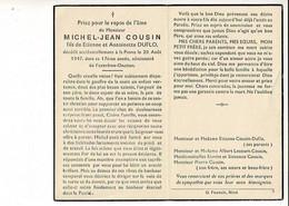 Dp 10997 - MICHEL-JEAN COUSIN - DECEDE ACCIDENTELLEMENT A LA PANNE 1947 - 17 ANNEE - Devotion Images