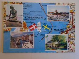 D173736  Map Carte  Sweden Malmő - Danmark  Kobenhavn - Carte Geografiche
