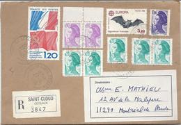 LETTRE RECOMMANDEE - Petit Rhinolophe (Europa 1986) + Marianne + 50è Anniversaire France-Russie - 27/10/1986 - Fledermäuse
