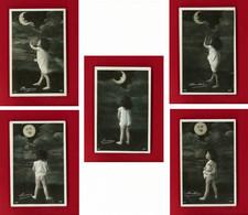 Série-35P32 Petit Garçon Et La Lune, Enfant Fesses Nues, Pleine Lune, Série De 5 Cpa BE - Niños