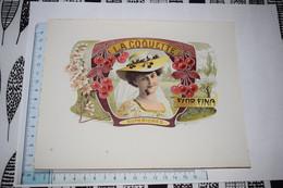 Grande étiquette Boîte à Cigare La Coquette Superiores Flor Fina Jeune Femme Chapeau Cerise - Etiketten