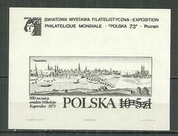 POLAND MNH ** Bloc De 1973 RARE Impression En Noir Et Blanc Exposition à POZNAN NICOLAS COPERNIC - Blocks & Sheetlets & Panes