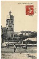 VITREY (70) Place Et L'Eglise Ed. Fournier, Vente  1907 (petit Manque Angle Bas Droit, Troupeau Moutons) - Andere Gemeenten