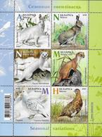 BELARUS, 2020, MNH, SEASONAL VARIATIONS, FAUNA, BIRDS, HARES, WEASELS, SHEETLET OF 6v - Andere
