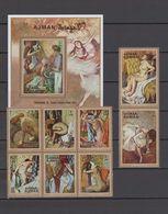 Ajman 1971 Nude Paintings, Edgar Degas Set Of 8 + S/s MNH - Desnudos
