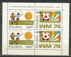 POLAND MNH ** Bloc 65 COUPE DU MONDE DE FOOTBALL En Allemagne BALLON. MEDAILLE Sport Soccer - Blocks & Sheetlets & Panes
