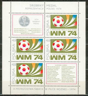 POLAND MNH ** Bloc 66 COUPE DU MONDE DE FOOTBALL En Allemagne. BALLON. MEDAILLE Sport Soccer - Blocks & Sheetlets & Panes