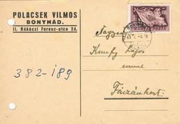 37772. Tarjeta Comercial Privada BONYHAD (Hungria) 1949 - Brieven En Documenten