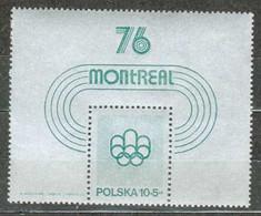 POLAND MNH ** Bloc 67 Jeux Olympiques De Montréal - Estate 1976: Montreal